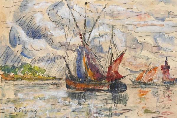 Scribble Painting - Fishing Boats In La Rochelle by Paul Signac