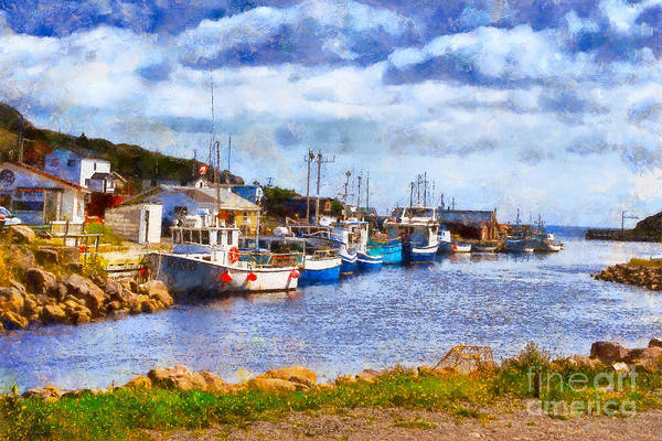 Photograph - Fishing Boats In Petty Harbour In Newfoundland by Les Palenik