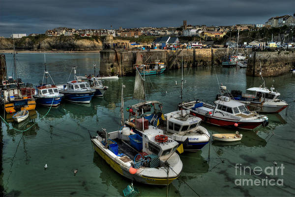 Angling Art Photograph - Fishing Boats Newquay Harbour Cornwall 1413 by Colin Munro