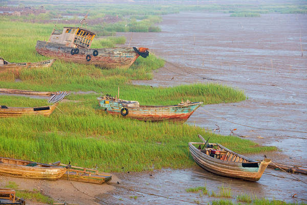 East Asia Photograph - Fishing Boats On The Beach, East China by Keren Su