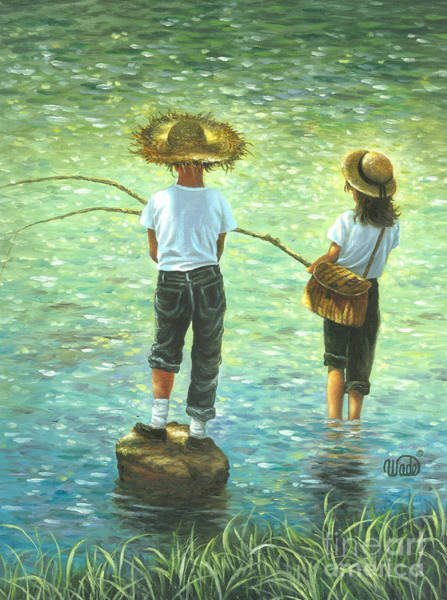 Wall Art - Painting - Fishing Boy And Girl by Vickie Wade
