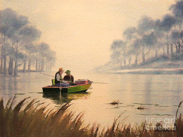 Wall Art - Painting - Fishing By Sunrise by Bill Holkham