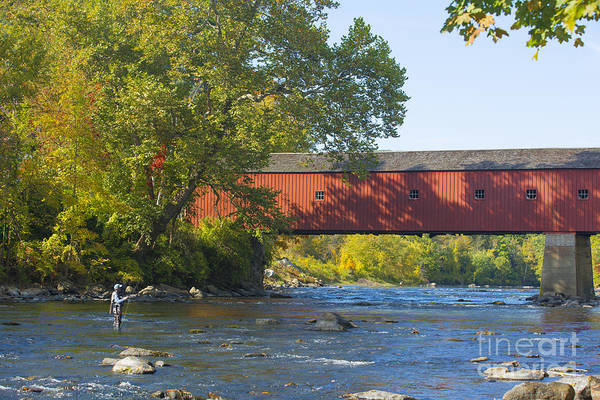 Wall Art - Photograph - Fishing By The Covered Bridge by Diane Diederich