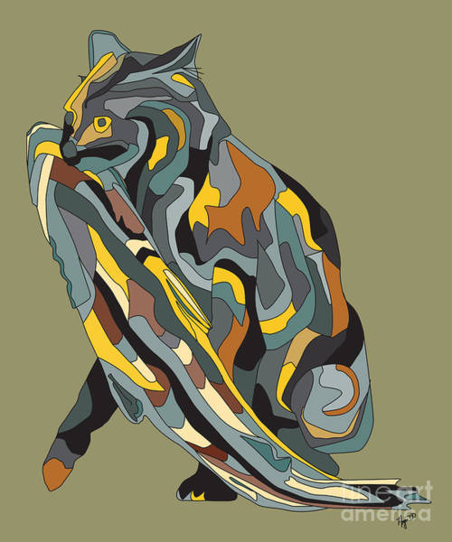 Digital Art - Fishing Cat by Megan Dirsa-DuBois