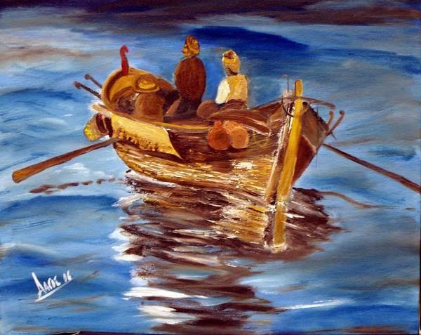 Lagos Painting - Fishing by Evangelos Lagos