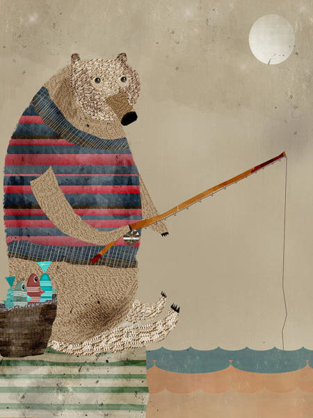 Basket Painting - Fishing For Supper by Bri Buckley