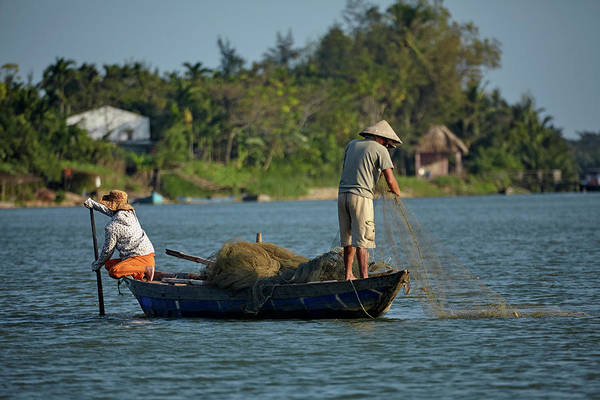 Hoi An Photograph - Fishing From Boat On Thu Bon River, Hoi by David Wall