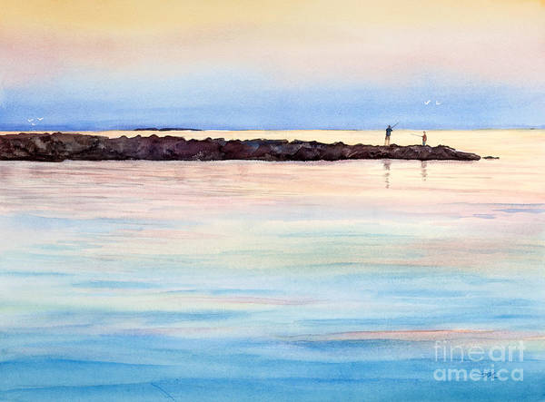 Wall Art - Painting - Fishing From The Jetty At Sunset by Michelle Constantine