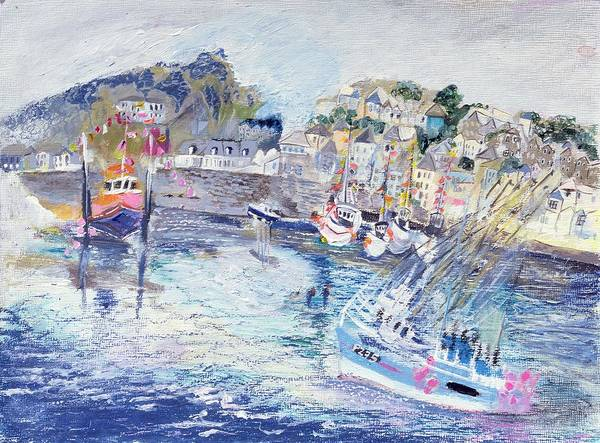 Elliot Bay Wall Art - Photograph - Fishing Harbour, Newlyn, Cornwall, 2005 Oil Pastel & Acrylic On Board by Sophia Elliot