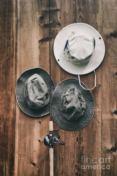 Photograph - Fishing Hats And Pole by Sandra Cunningham