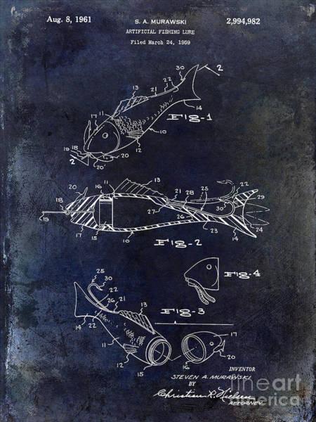 Fishing Lure Patent 1959 Blue Art Print