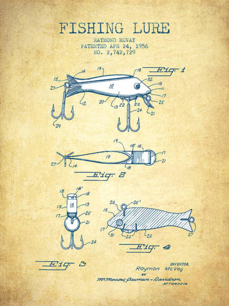 Wall Art - Drawing - Fishing Lure Patent From 1956 - Vintage Paper by Aged Pixel