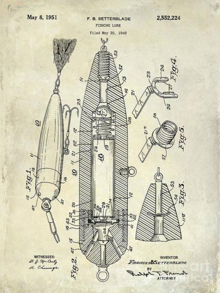 Fishing Nets Photograph - Fishing Lure Patent  by Jon Neidert