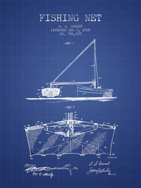 Wall Art - Digital Art - Fishing Net Patent From 1905- Blueprint by Aged Pixel