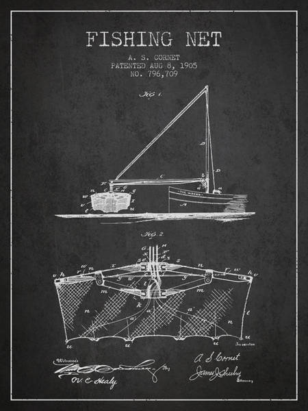 Wall Art - Digital Art - Fishing Net Patent From 1905- Charcoal by Aged Pixel