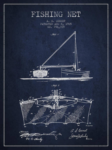 Wall Art - Digital Art - Fishing Net Patent From 1905- Navy Blue by Aged Pixel
