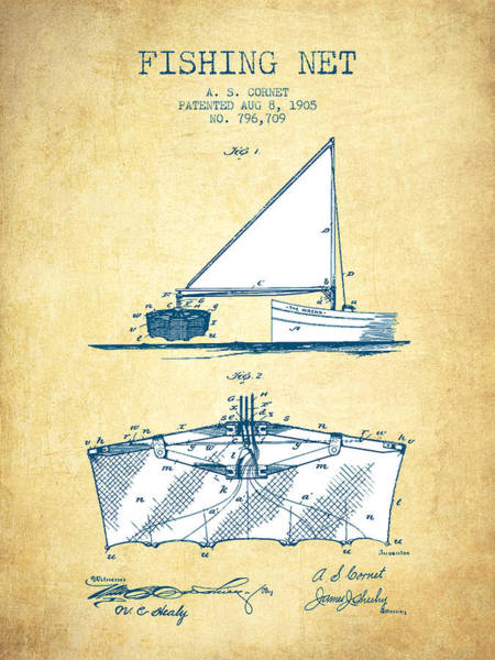 Wall Art - Digital Art - Fishing Net Patent From 1905- Vintage Paper by Aged Pixel