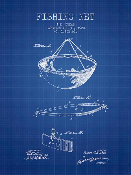 Wall Art - Digital Art - Fishing Net Patent From 1920- Blueprint by Aged Pixel