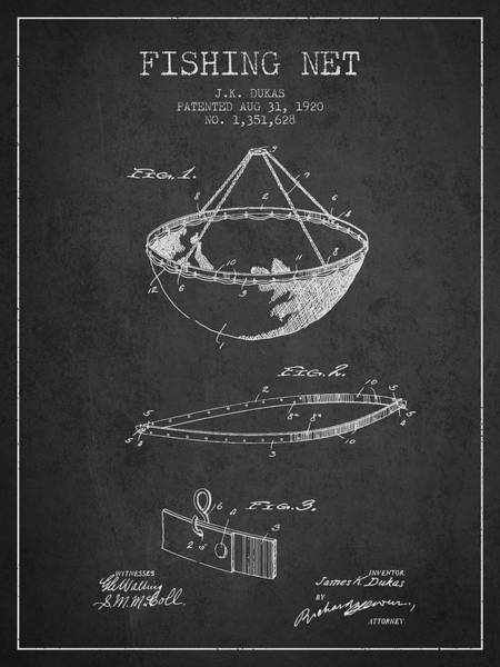 Wall Art - Digital Art - Fishing Net Patent From 1920- Charcoal by Aged Pixel