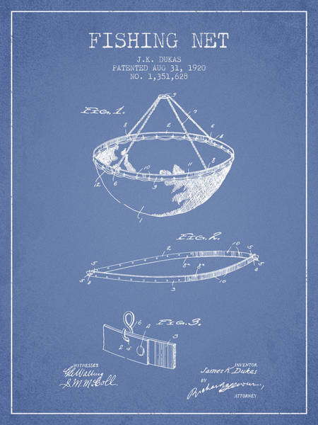 Wall Art - Digital Art - Fishing Net Patent From 1920- Light Blue by Aged Pixel