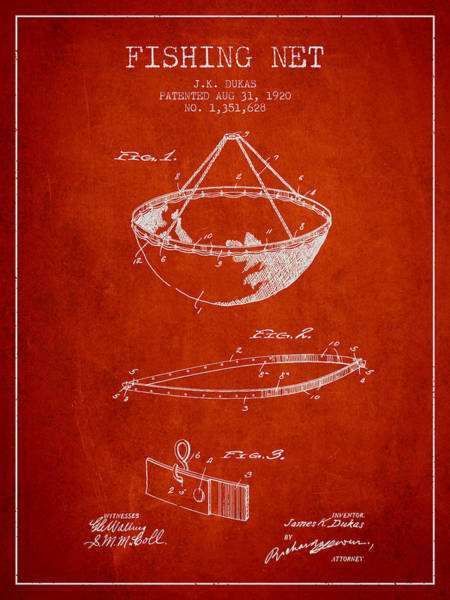Wall Art - Digital Art - Fishing Net Patent From 1920- Red by Aged Pixel