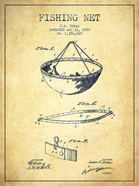Wall Art - Digital Art - Fishing Net Patent From 1920- Vintage by Aged Pixel