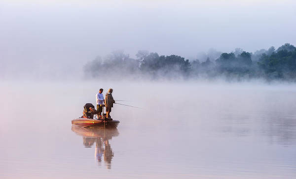 Wall Art - Photograph - Fishing On Foggy Lake by ??? / Austin