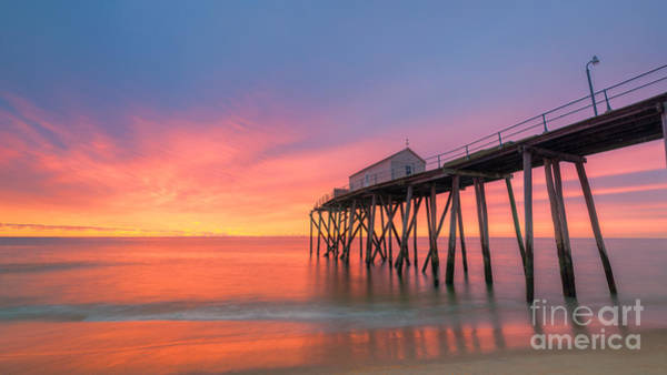 Fire In The Sky Wall Art - Photograph - Fishing Pier Sunrise 16x9 by Michael Ver Sprill