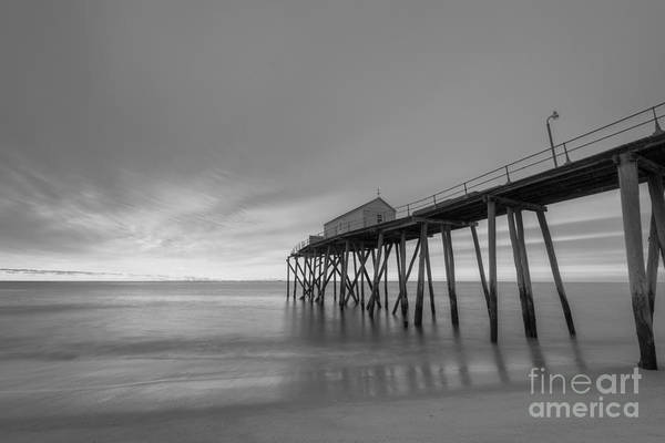 Fire In The Sky Wall Art - Photograph - Fishing Pier Sunrise Bw by Michael Ver Sprill