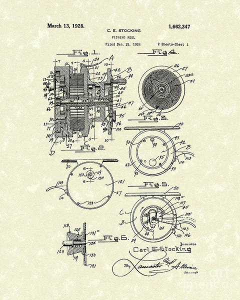 Wall Art - Drawing - Fishing Reel 1928 Patent Art by Prior Art Design
