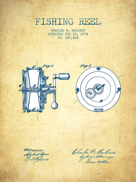 Wall Art - Drawing - Fishing Reel Patent From 1874 - Vintage Paper by Aged Pixel