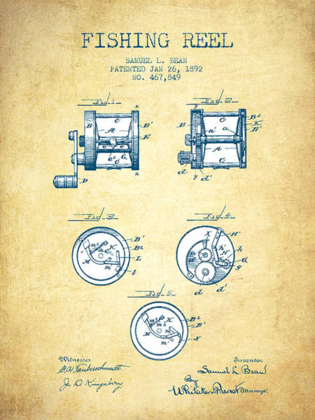 Wall Art - Drawing - Fishing Reel Patent From 1892 - Vintage Paper by Aged Pixel