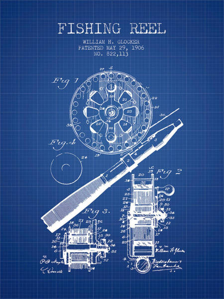 Wall Art - Digital Art - Fishing Reel Patent From 1906 - Blueprint by Aged Pixel