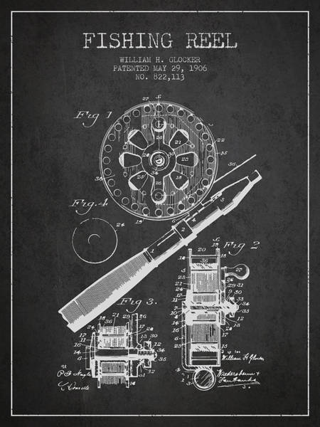 Wall Art - Digital Art - Fishing Reel Patent From 1906 - Charcoal by Aged Pixel