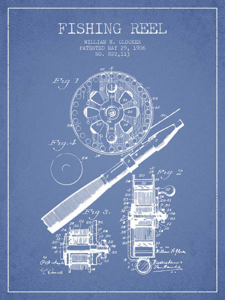 Antique Fishing Lures Wall Art - Digital Art - Fishing Reel Patent From 1906 - Light Blue by Aged Pixel