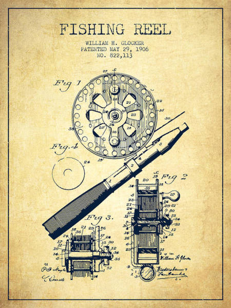 Wall Art - Digital Art - Fishing Reel Patent From 1906 - Vintage by Aged Pixel