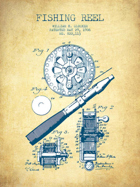 Wall Art - Drawing - Fishing Reel Patent From 1906 - Vintage Paper by Aged Pixel