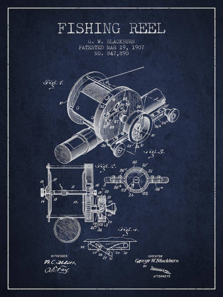 Wall Art - Digital Art - Fishing Reel Patent From 1907 - Navy Blue by Aged Pixel