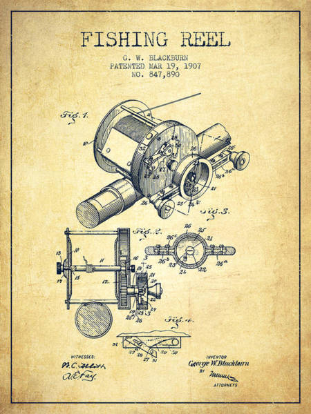 Wall Art - Digital Art - Fishing Reel Patent From 1907 - Vintage by Aged Pixel
