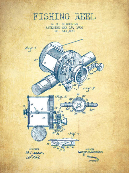 Wall Art - Digital Art - Fishing Reel Patent From 1907 - Vintage Paper by Aged Pixel