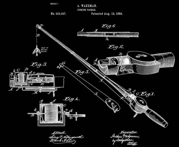 Fishing Pole Digital Art - Fishing Rod Patent by Dan Sproul
