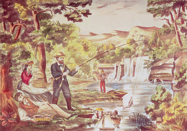 Angler Wall Art - Painting - Fishing Scene by Chas Hart