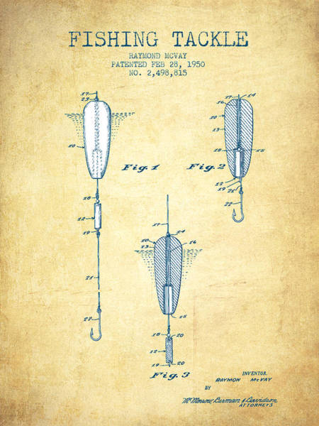 Wall Art - Drawing - Fishing Tackle Patent From 1950 - Vintage Paper by Aged Pixel