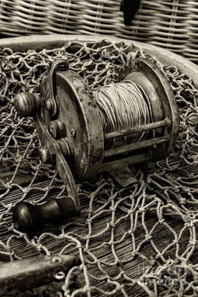 Wall Art - Photograph - Fishing - That Old Fishing Reel In Black And White by Paul Ward