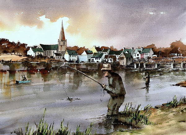 Painting - Mayo  Fishing The Ridge Pool On The River Moy  by Val Byrne
