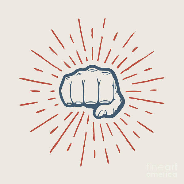 Wall Art - Digital Art - Fist With Sunbursts In Vintage Style by Akimd