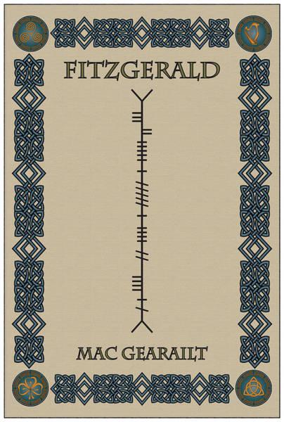 Wall Art - Digital Art - Fitzgerald Written In Ogham by Ireland Calling
