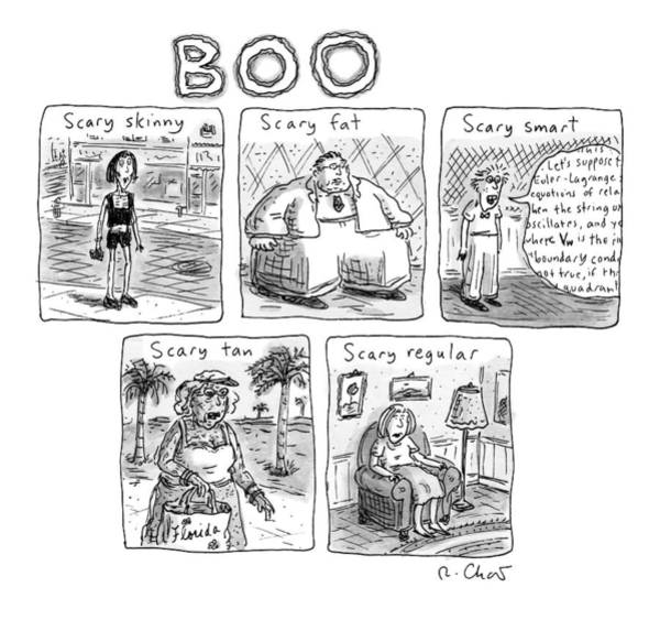 Skinny Drawing - Five Different Pictures Are Shown Below The Title by Roz Chast