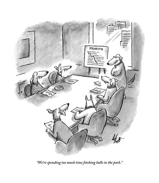 Meeting Drawing - Five Dogs Sit Around An Office Meeting Table by Frank Cotham