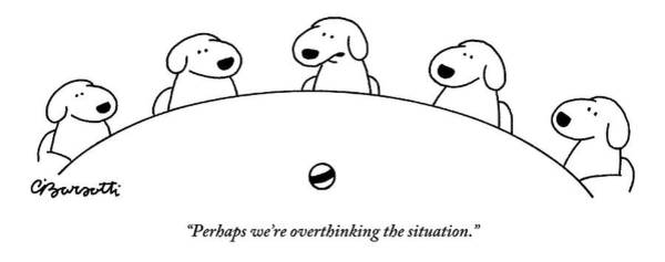 Wall Art - Drawing - Five Dogs Sitting Around A Roundtable by Charles Barsotti